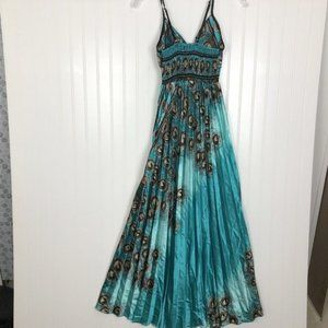 STEP IN STYLE Silky Pleated Long Dress Blue, Teal
